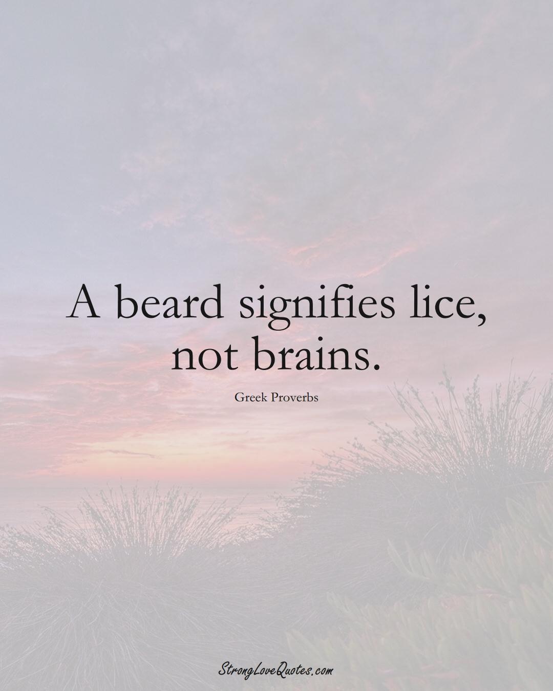 A beard signifies lice, not brains. (Greek Sayings);  #EuropeanSayings