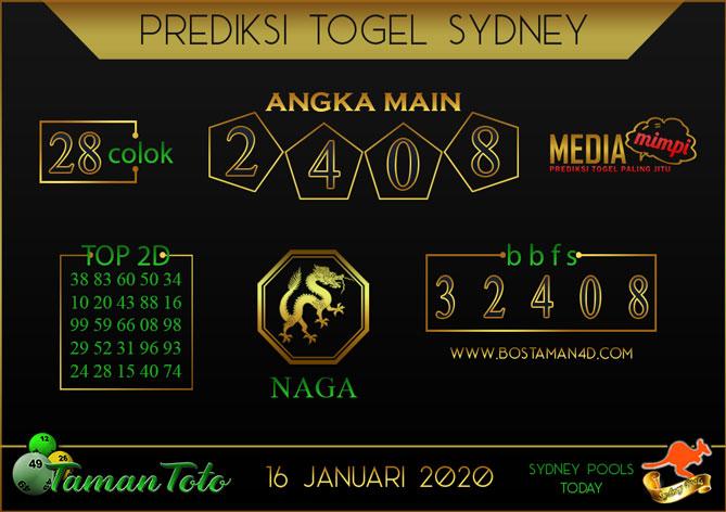 Prediksi Togel SYDNEY TAMAN TOTO 16 JANUARI 2020
