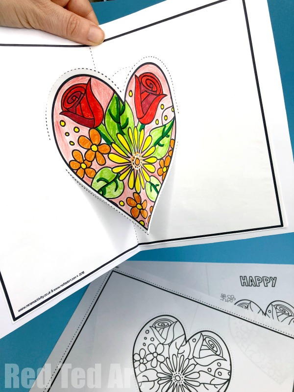 mothers day pop up heart card