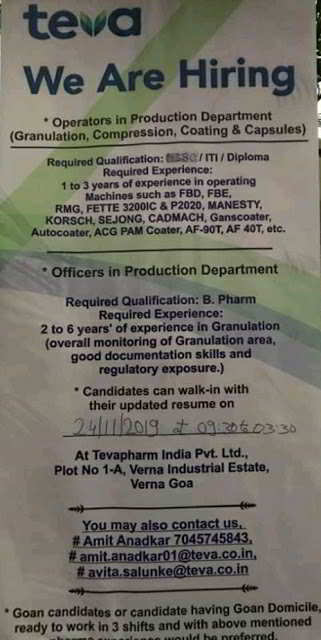 Teva Pharmaceuticals walk-in interview for Production department on 24th Nov' 2019