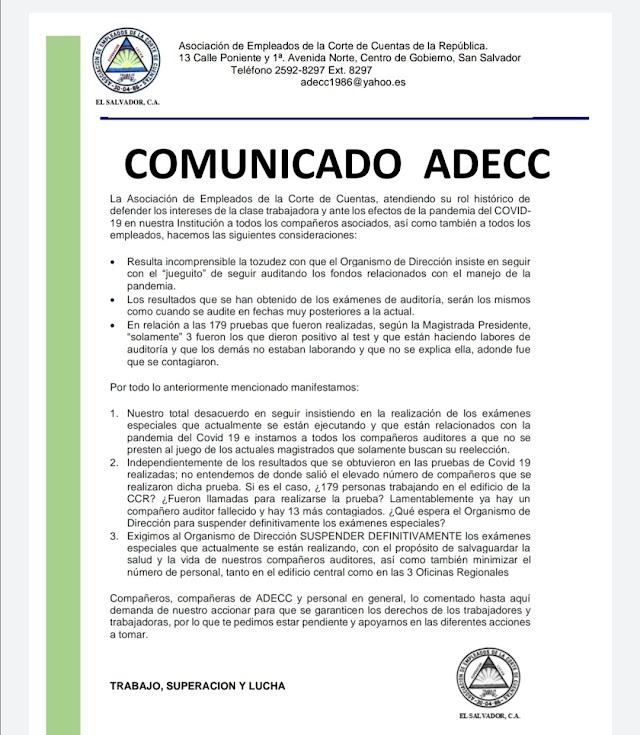 Comunicado de la Asociación de Empleados de la Corte de Cuentas