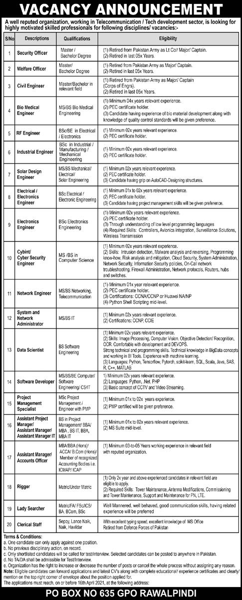 Public Sector Organization PO Box 635 GPO Jobs 2021 in Rawalpindi