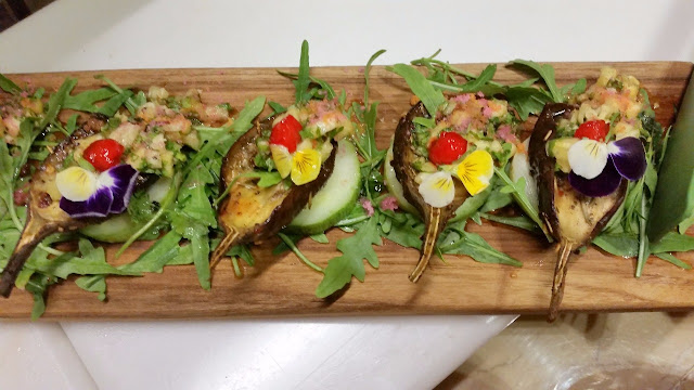Eggplants with Stuffed Pineapple Salsa
