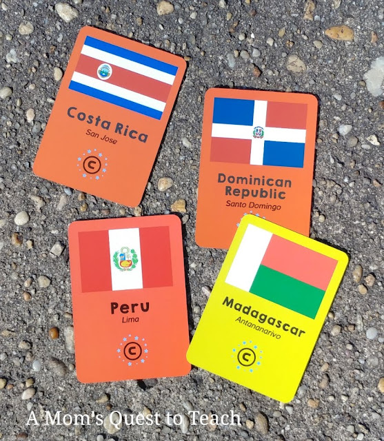 Costa Rica, Peru, and other flag cards from Continent Race game