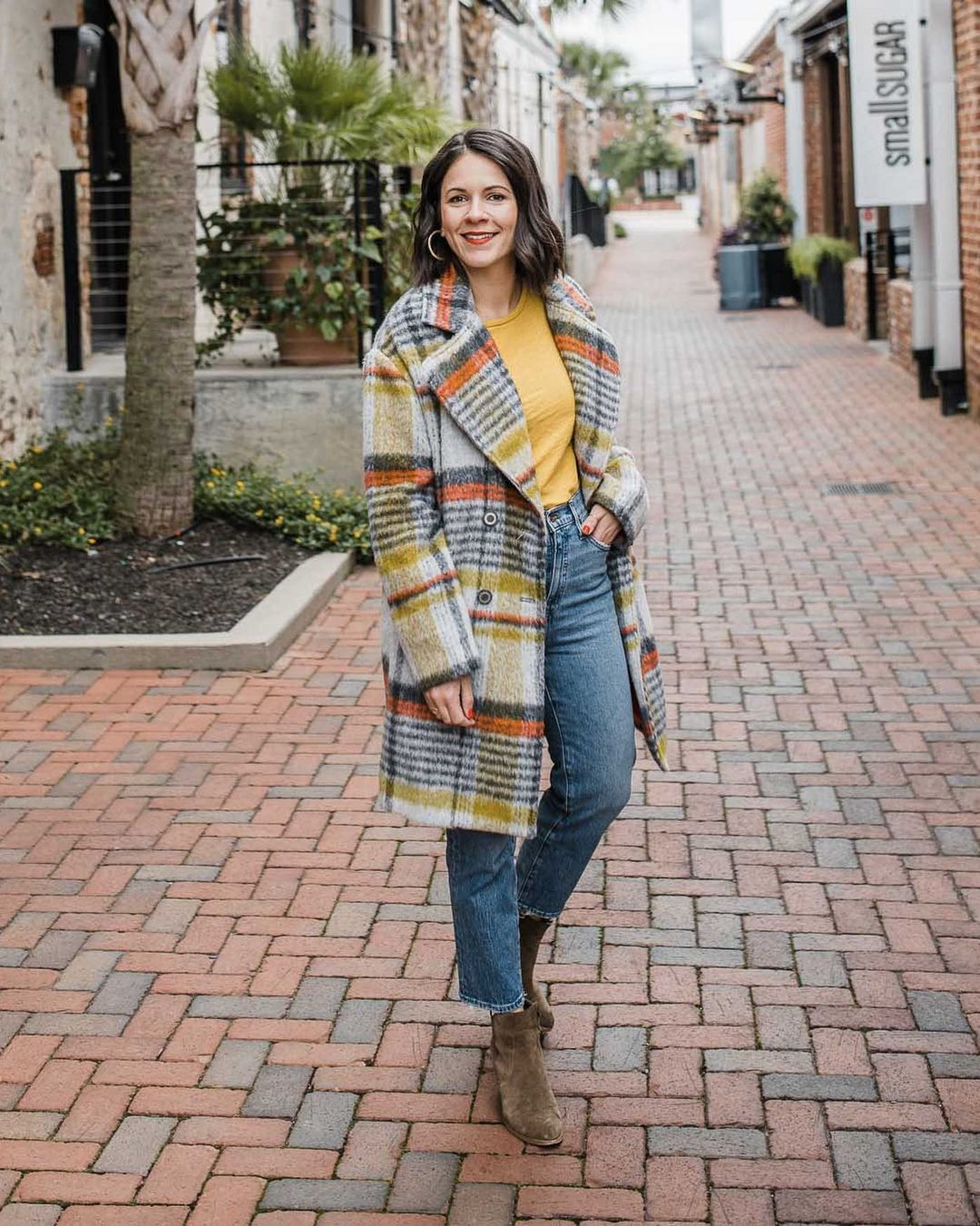 Plaid coat with yellow stripe