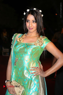 Sanjjanaa Stills in Green Long Dress at Gemini TV Puraskaralu 2016 Event