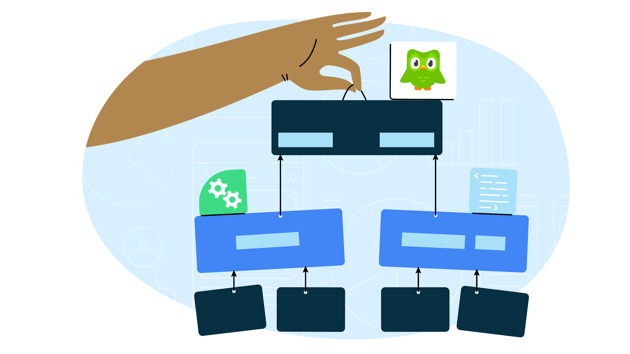 illustration of hand holding up a chart with the Duolingo bird sitting on top