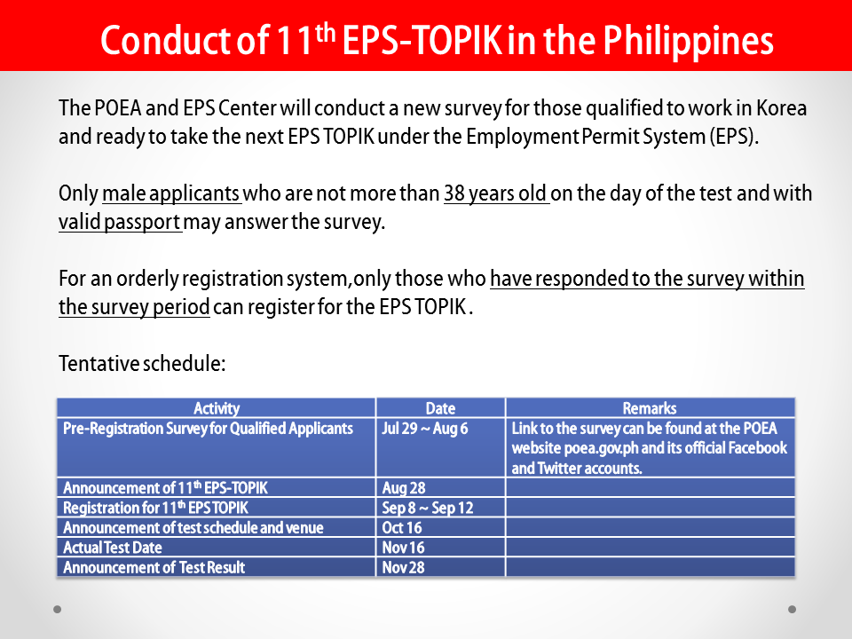 Disclaimer: CONDUCT OF 11TH EPS-TOPIK IN THE PHILIPPINES