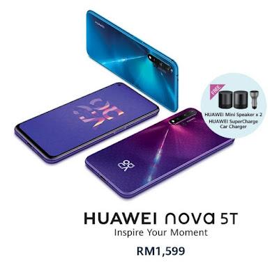 Smartphone, handphone, HUAWEI nova 5T, teknologi Quad AI camera,