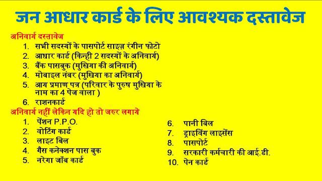 new jan aadhaar card documents
