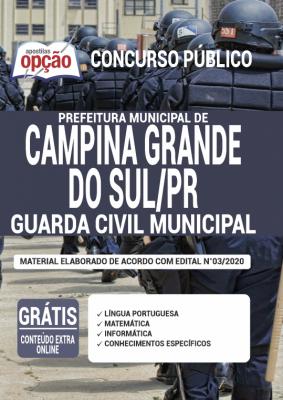 A Apostila Prefeitura de Campina Grande do Sul - PR em PDF - Guarda Civil Municipal - 2020 foi elaborada de acordo com o Edital 03/2020 do concurso, por professores especializados em cada matéria e com larga experiência em concursos.