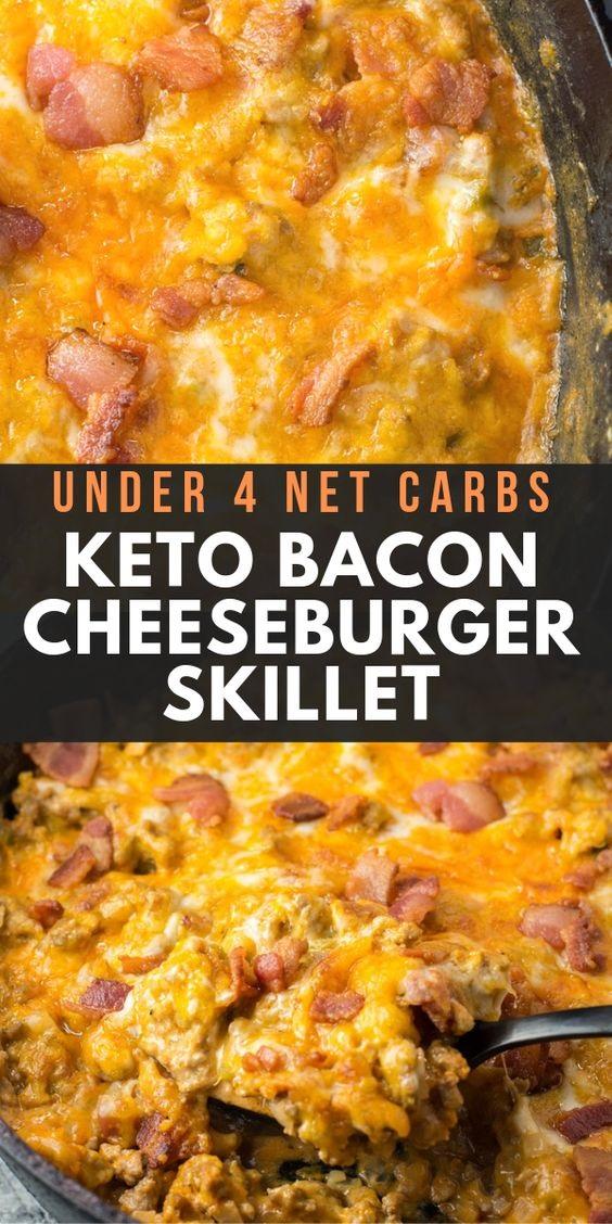 One Pan Keto Bacon Cheeseburger Skillet