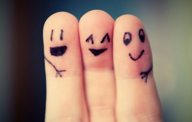 friends drawn on fingers, hugging