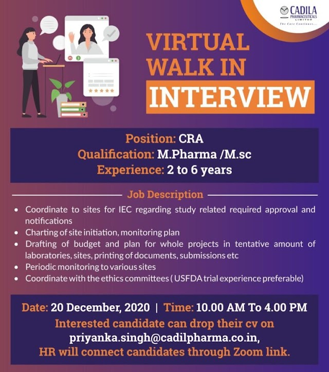 Cadila Pharmaceuticals Walk in Interviews- CRA/ Data Programmer and Multiple Positions