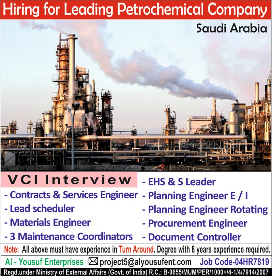 Hiring for leading oil and Gas Company in Saudi Arabia