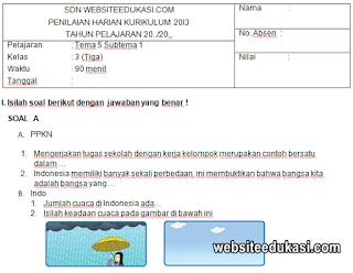Soal PH Kelas 3 Tema 5 Kurikulum 2013 Tahun 2019/2020