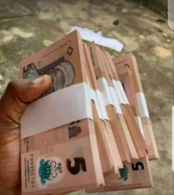 """Alt: = """"photo showing hand holding bundles of 5 Naira notes"""""""