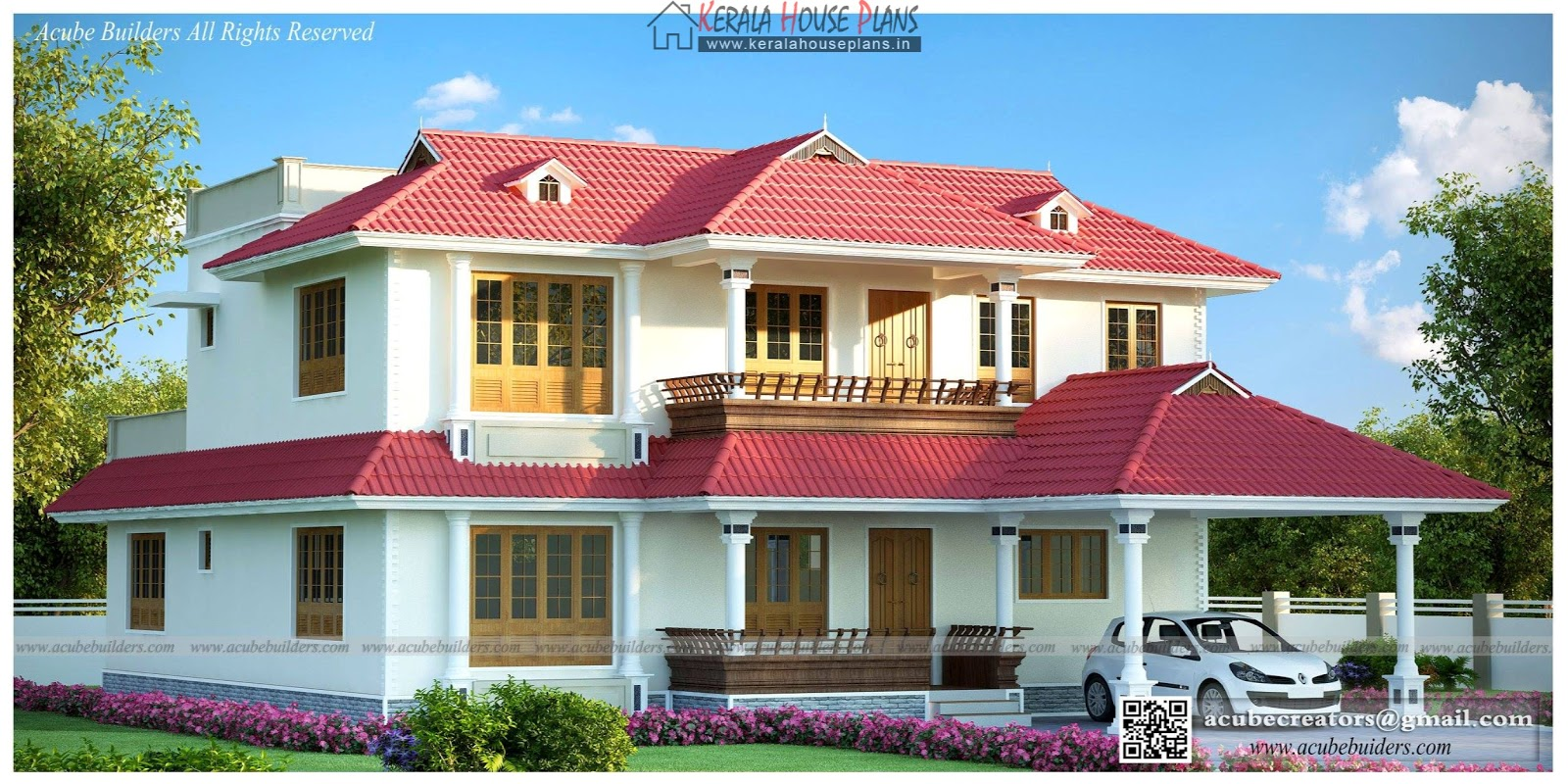 Beautiful traditional kerala home kerala house plans for Kerala traditional home plans