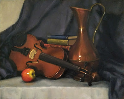 Still life oil painting of an apple, a violin, a large copper jug and some books.