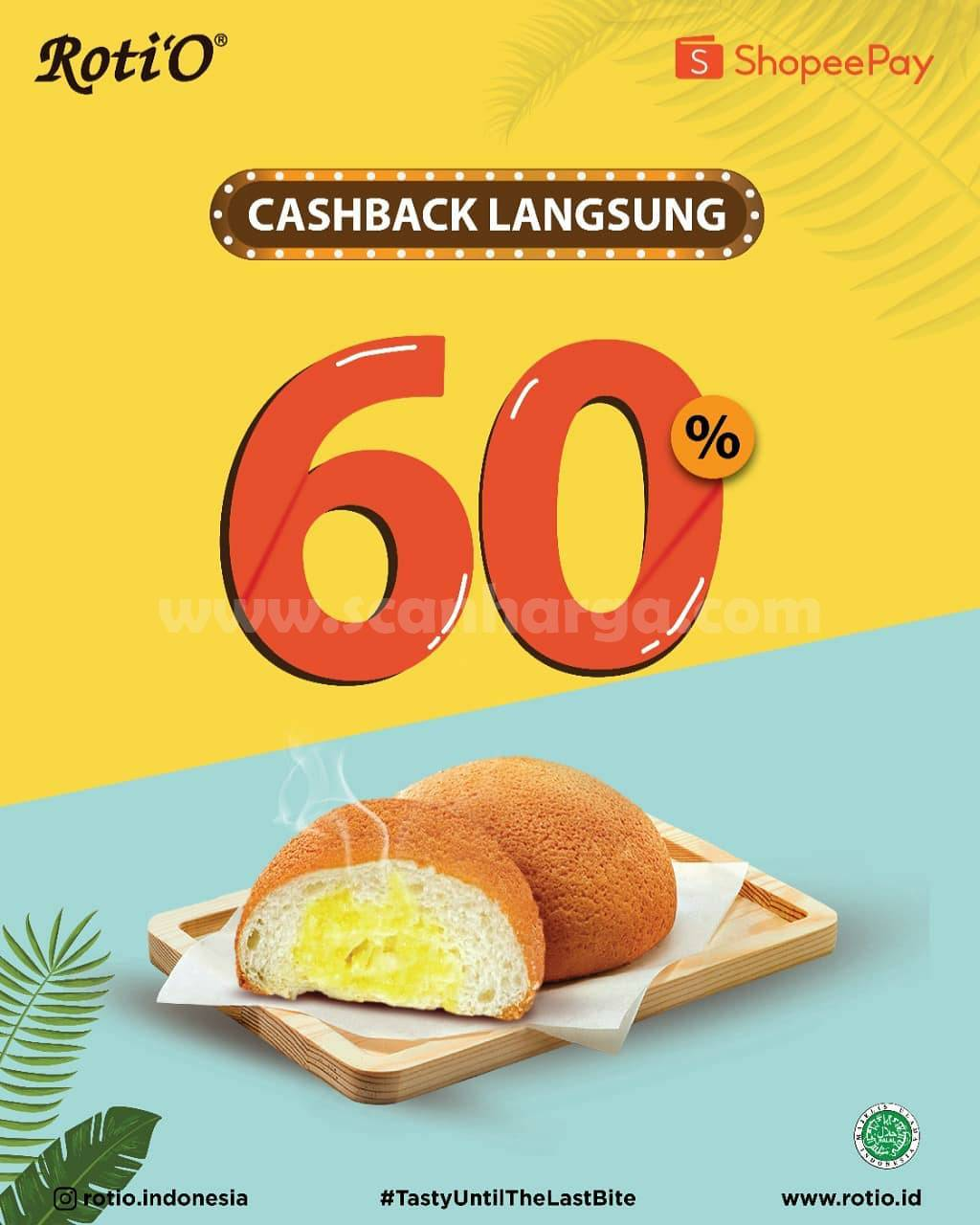 Promo Roti'O Cashback 60% pakai ShopeePay