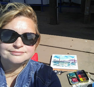 Artist Irina Sztukowski at Plein Air Painting in San Francisco