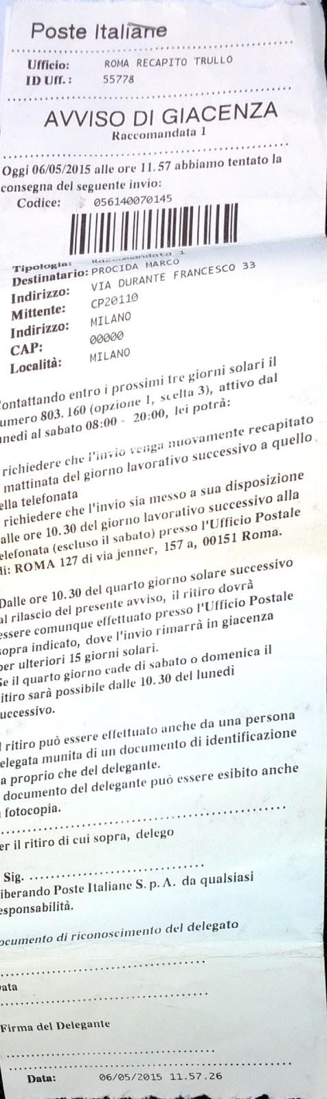 E io condivido poste italiane si fanno pagare per le - Dove trovo i dati catastali ...