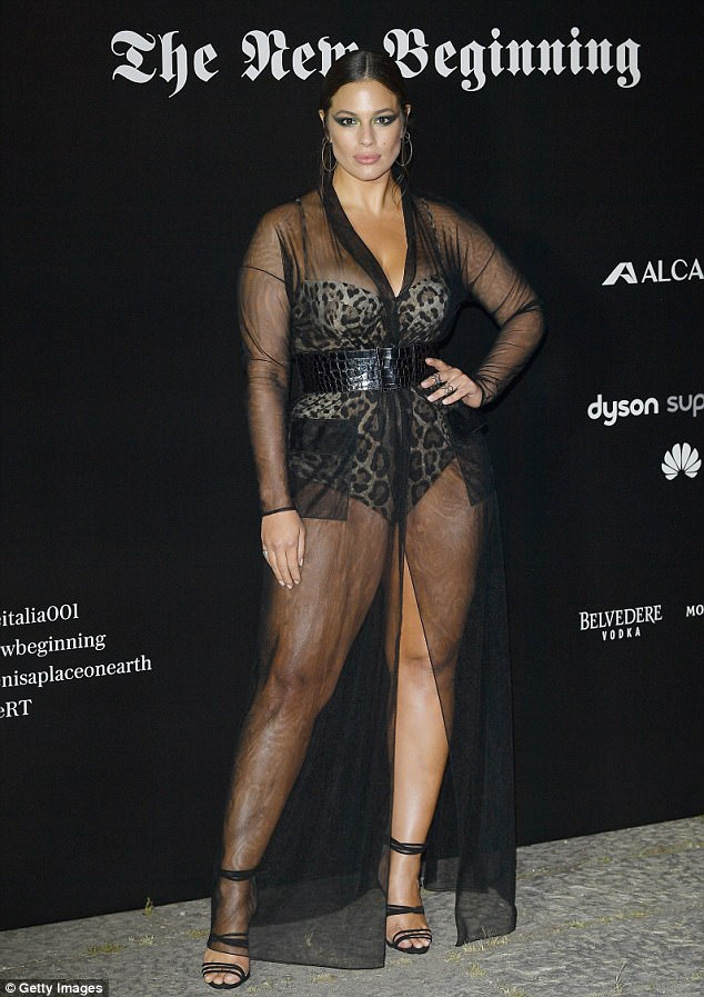 Ashley Graham wows in completely see-through number over leopard-print bodysuit