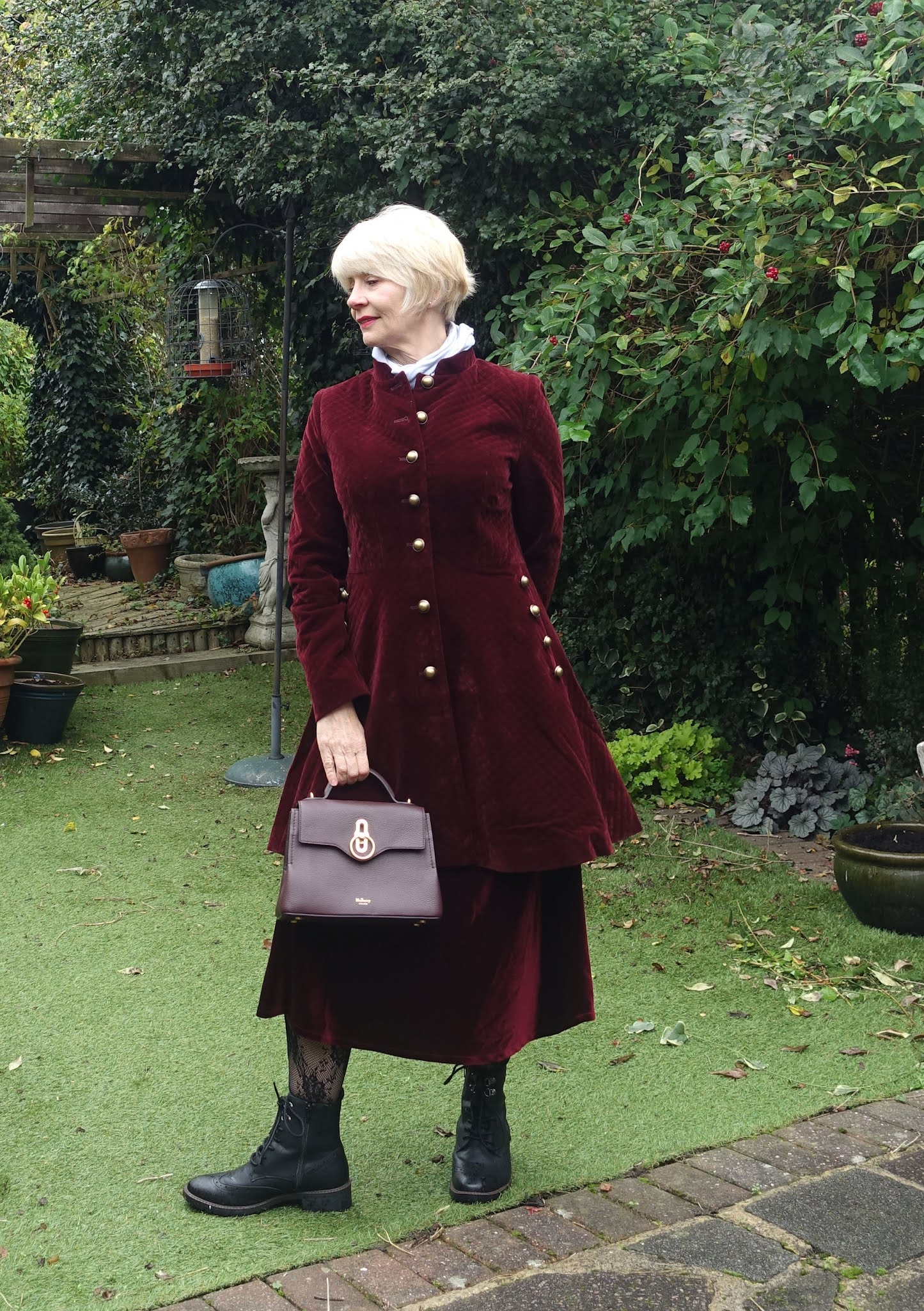 Gail Hanlon from style blog Is This Mutton in burgundy velvet coat from Joe Browns