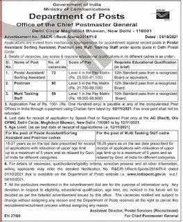 Delhi Post Office Recruitment 2021 221 Sports Person Posts