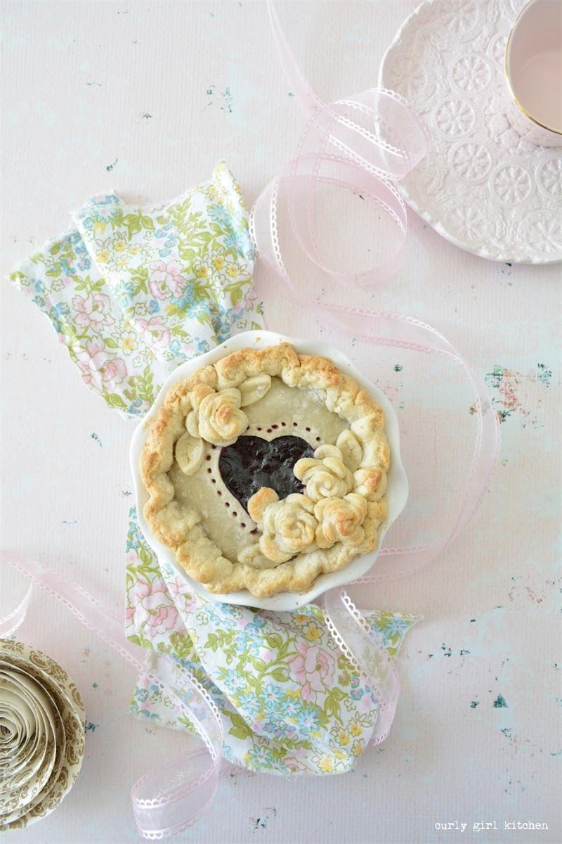 Pie, Cherry Pie, Berry Pie, Valentine's Day, Valentine's Baking, Heart Cutout Pie, Rose Pie