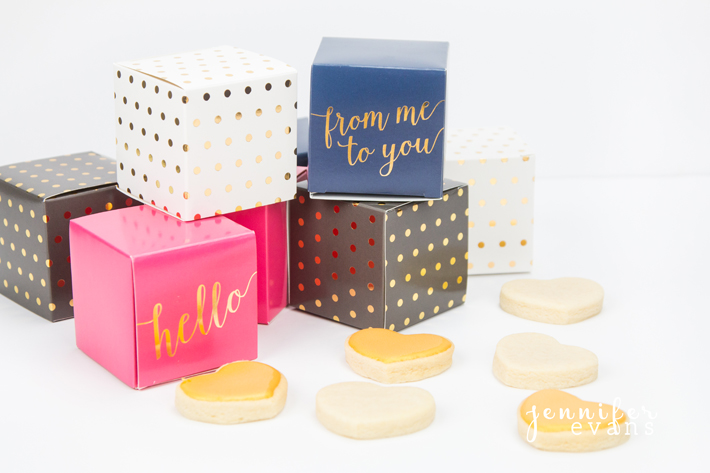 Foiled gift boxes with gold cookies. Perfect wedding or baby shower, birthday, or reception favor by @createoften