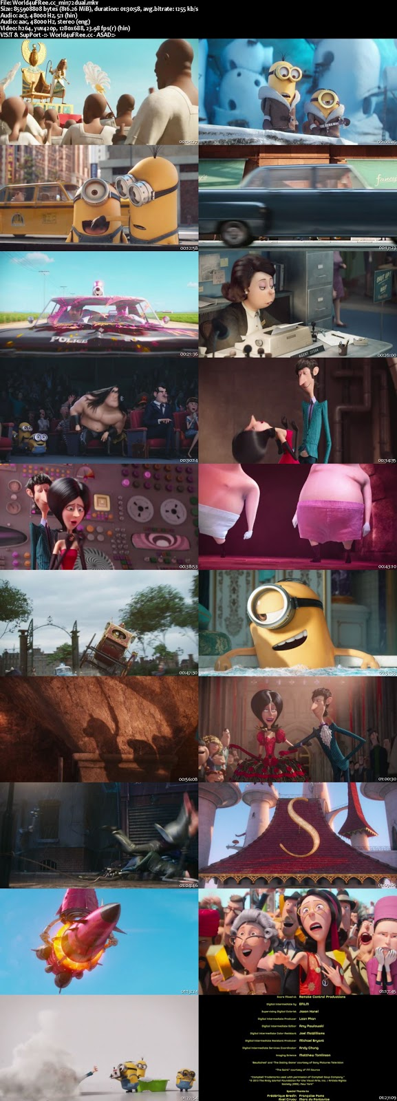 Minions 2015 Hindi 5.1ch Dual Audio BRRip 720p 800mb ESub https://world4ufree.ws