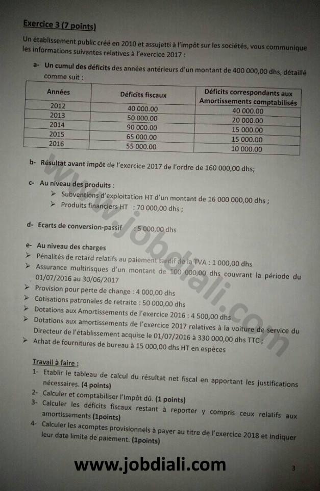 Exemple Concours de Recrutement Cadre en Gestion Financière et Comptable 2018 - ANDA