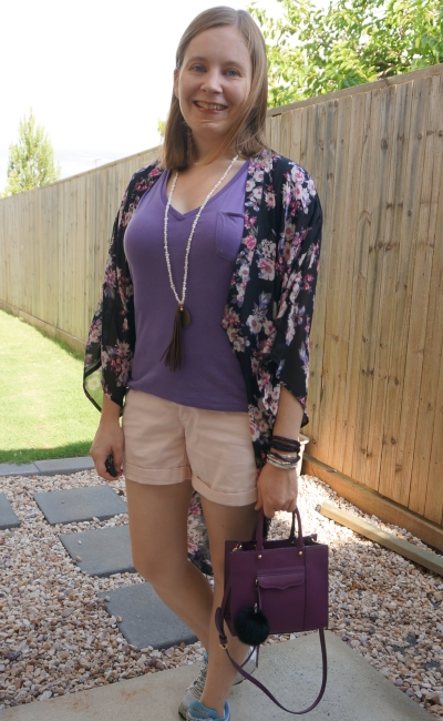 thrifted Supre black sheer floral kimono with matching purple and pink outfit rebecca minkoff mab mini bag | away from the blue