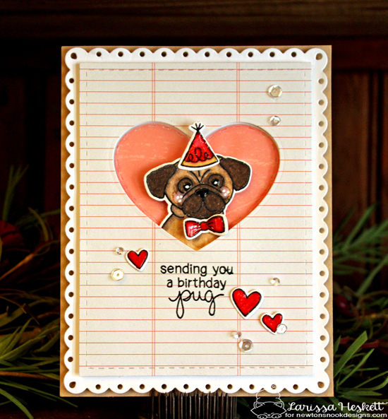 Pug Birthday Card by Larissa Heskett | Pug Hugs stamp set by Newton's Nook Designs #newtonsnook