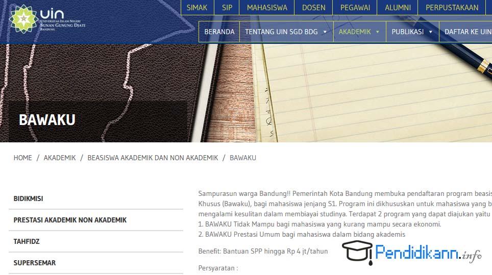 Informasi Beasiswa Bawaku UIN Bandung Lengkap