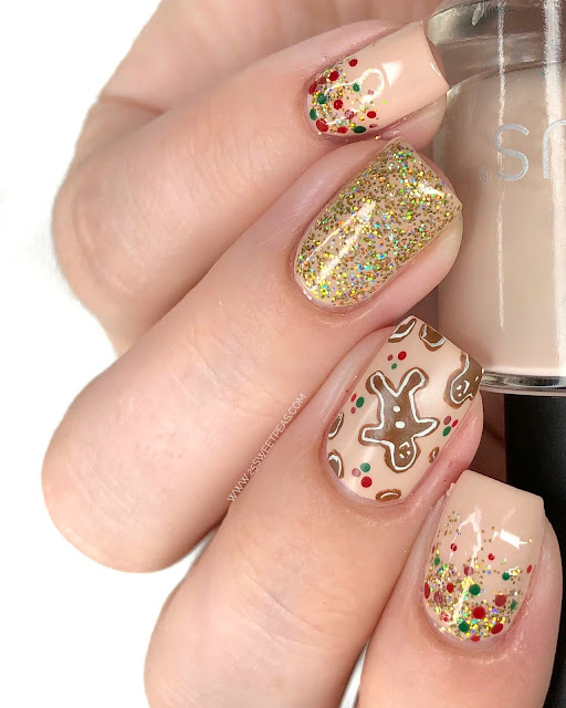 Gingerbread People Nail Art