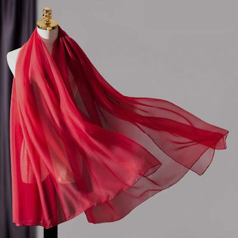 Red Silk Chiffon Scarves Shawls