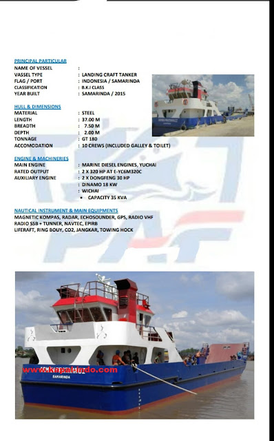 jual LCT Kargo murah, jual kapal LCT Kargo bekas, jual kapal LCT Kargo GT 180 ton, jual kapal LCT Kargo tahun 2015, jual kapal LCT kargo di Samarinda, Pemilik kapal LCT Arman Pratama 01, owner kapal LCT Kargo di Samarinda