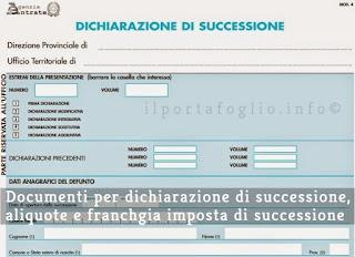 imposta di successione e dichiarazione