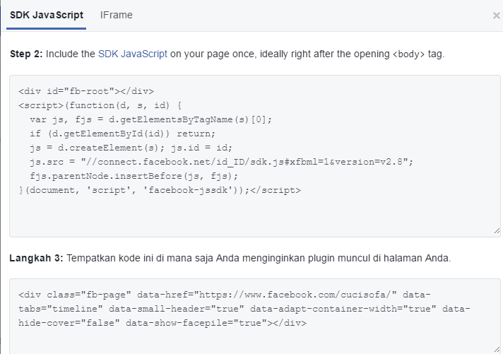 cara memasang fanspage facebook di wordpress