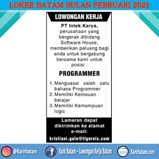 Lowongan Kerja Programmer PT. Intek Karya