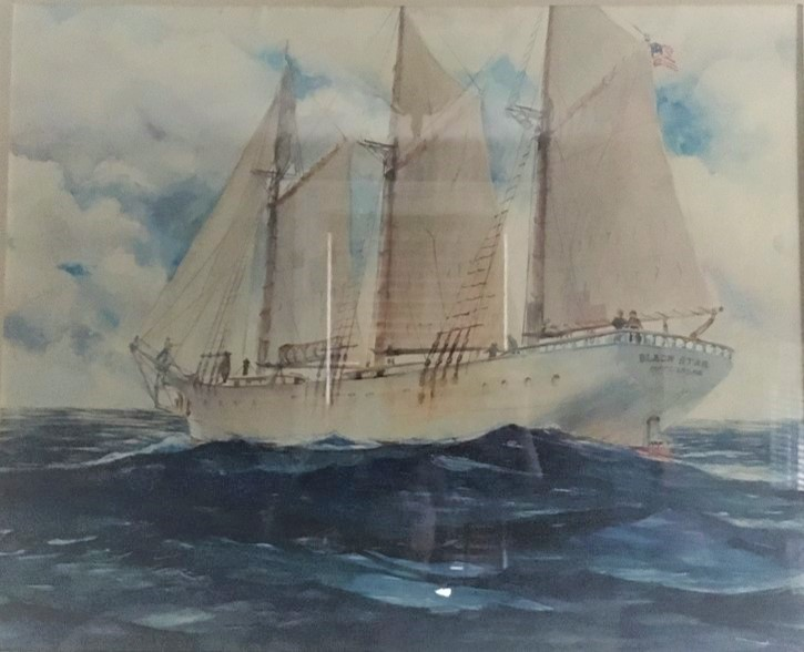 image of schooner under sail, nautical watercolor, Francis Quirk