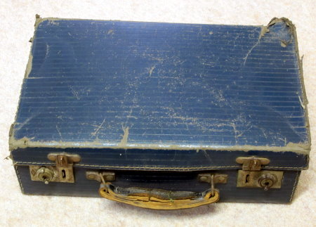 Battered suitcase from The Giant Shepton Flea full of vintage books