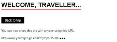 Je krijgt een unieke code waarmee je je trip kan delen
