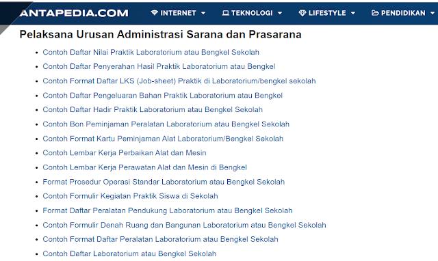 Kumpulan Contoh Format Pelaksana Urusan Administrasi Sarana dan Prasarana Sekolah