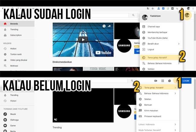 Cara Mengganti Tema Youtube Menjadi Gelap