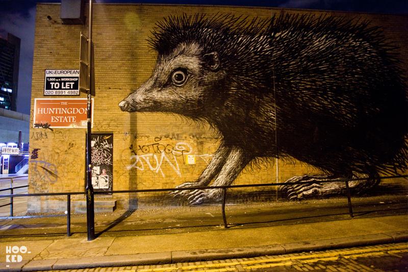 Shoreditch Street Art Hedgehog Mural by Belgian Street Artist ROA