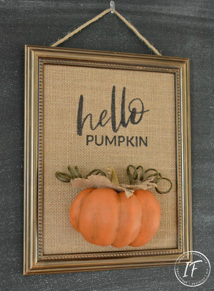 Hello Pumpkin Burlap Fall Decor