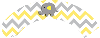 Baby Elephant in Grey and Yellow Chevron Free Printable Wrappers Cupcake.